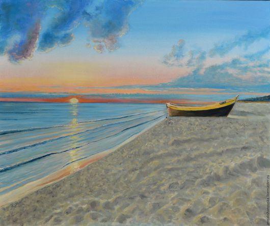 """Пейзаж ручной работы. Ярмарка Мастеров - ручная работа. Купить Картина """"Лодка"""". Handmade. Голубой, пейзаж, картина, картину, Живопись"""