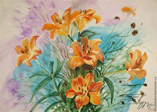 Акварель . Оранжевые лилии. 45х60см