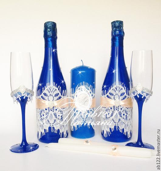 Свадебные аксессуары ручной работы. Ярмарка Мастеров - ручная работа. Купить Свадебный набор синий с персиковым акцентом. Handmade. Синий