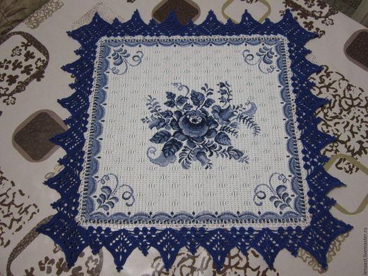 Текстиль, ковры ручной работы. Ярмарка Мастеров - ручная работа. Купить Набор салфеток с каймой (4шт). Handmade. Тёмно-синий