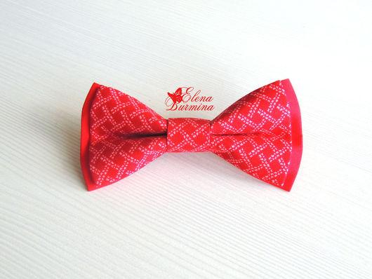Галстуки, бабочки ручной работы. Ярмарка Мастеров - ручная работа. Купить Бабочка галстук красная с орнаментом, хлопок. Handmade.
