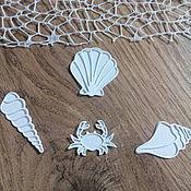 Материалы для творчества handmade. Livemaster - original item !Cutting for scrapbooking - 3D SEA SET, CRAB and 3 SHELLS. Handmade.