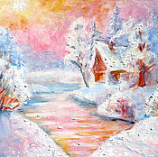 """Картины и панно ручной работы. Ярмарка Мастеров - ручная работа Картина """"Зимний вечер"""", холст, масло, оргалит. Handmade."""