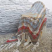 """Аксессуары ручной работы. Ярмарка Мастеров - ручная работа Шаль """"Рассвет"""" вязаная, ажурная, полушерсть, вязание крючком. Handmade."""