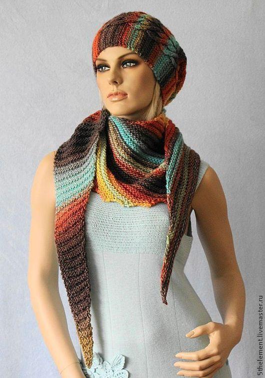 """Шали, палантины ручной работы. Ярмарка Мастеров - ручная работа. Купить Бактус + шапка """"Цветовая волна"""". Handmade."""