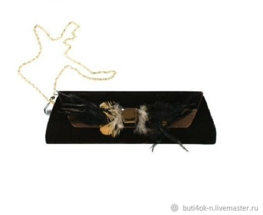 Theatrical clutch bag made of velvet, decorated with rhinestones and feathers, Vintage bags, Nelidovo,  Фото №1