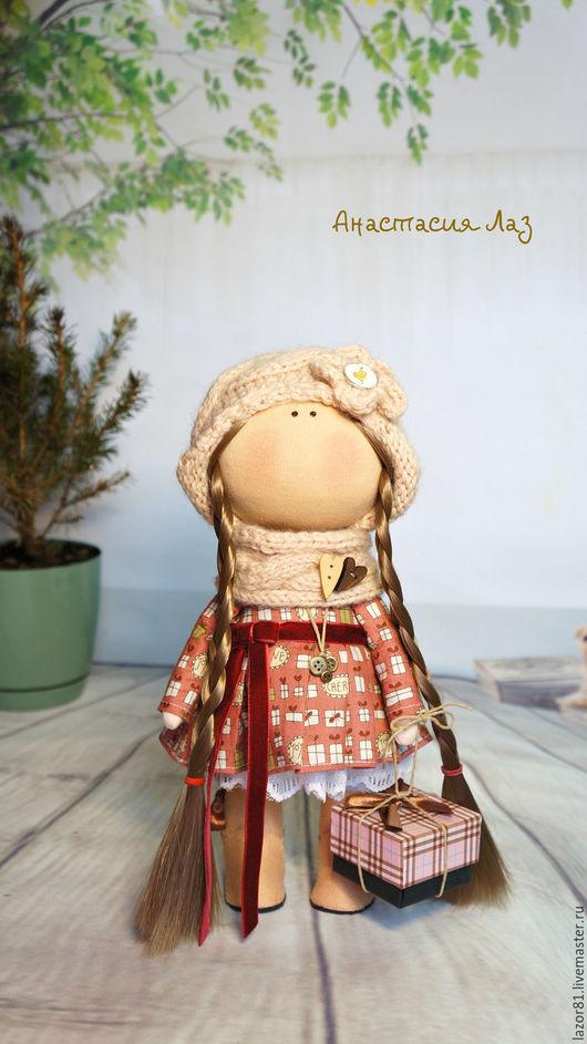 Коллекционные куклы ручной работы. Ярмарка Мастеров - ручная работа. Купить Девочка с косами. Handmade. Бежевый, подарок девушке
