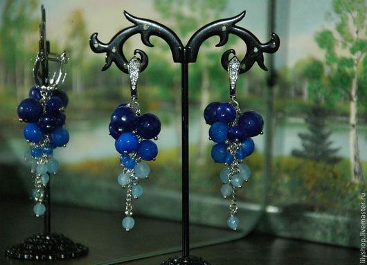 """Серьги ручной работы. Ярмарка Мастеров - ручная работа. Купить Серьги """"Синие ягоды"""". Handmade. Тёмно-синий, сережки"""