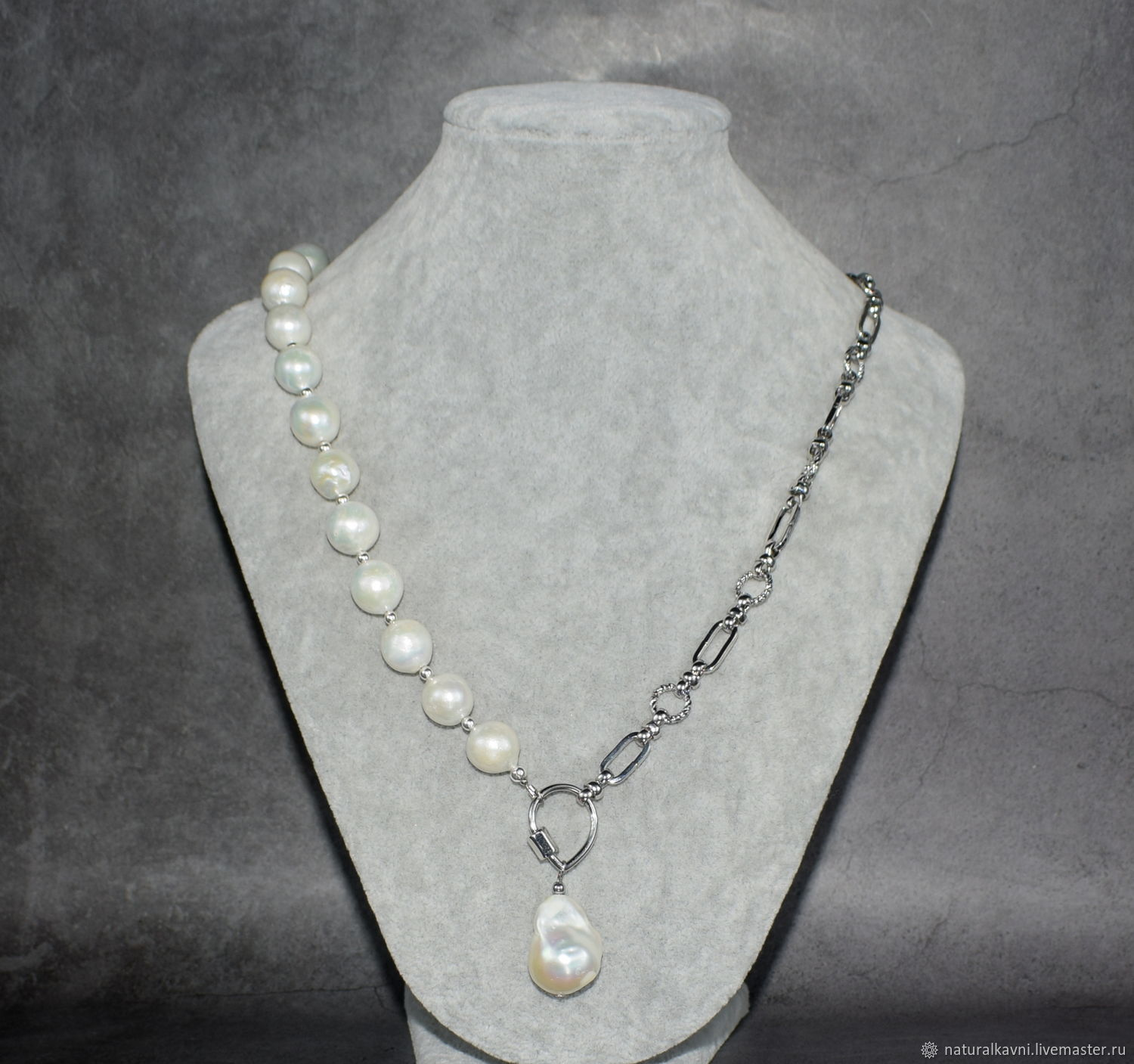 Necklace made of natural pearls, chains and pendants made of baroque w, Beads2, Moscow,  Фото №1