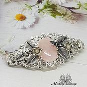 Украшения handmade. Livemaster - original item Barrette Briar-rose quartz. Handmade.