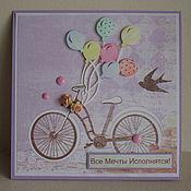 """Открытки ручной работы. Ярмарка Мастеров - ручная работа Открытки """"Велосипед"""". Handmade."""