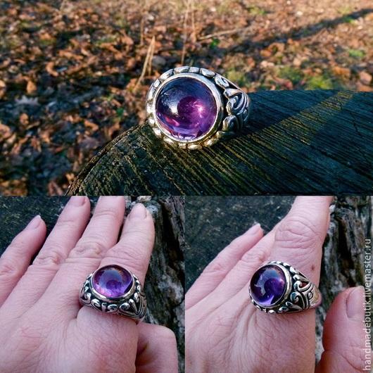 Кольца ручной работы. Ярмарка Мастеров - ручная работа. Купить Перстень Слияние сердец с аметистом  из серебра 925. Handmade.