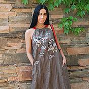 """Одежда handmade. Livemaster - original item Длинный льняной сарафан с вышивкой """"Мопсы-купидоны"""". Handmade."""