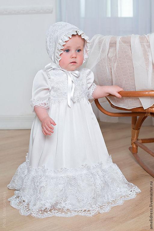 Крестильные принадлежности ручной работы. Ярмарка Мастеров - ручная работа. Купить крестильное платье. Handmade. Белый, однотонный, шелк, кружева