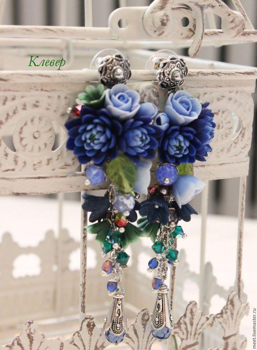 Серьги ручной работы. Ярмарка Мастеров - ручная работа. Купить Серьги с хризантемами.. Handmade. Тёмно-синий, синие серьги, розы