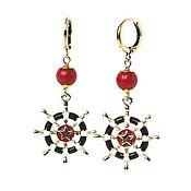Украшения handmade. Livemaster - original item Nautical wheel earrings and coral gold. Handmade.