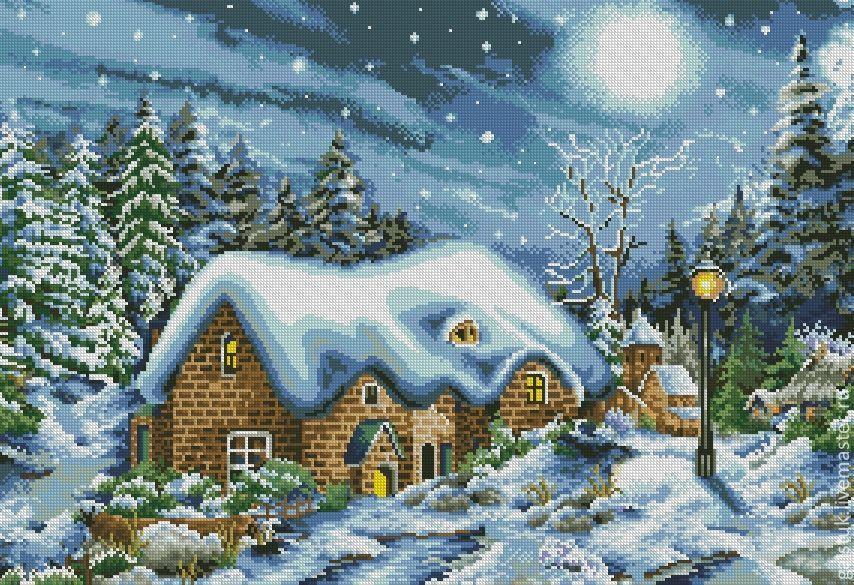 Схема вышивки домики зимой