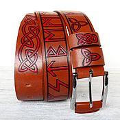 Аксессуары handmade. Livemaster - original item Genuine Leather belt with Runes. Futhark. Handmade.