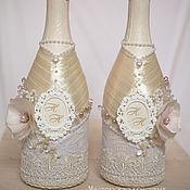 Свадебный салон ручной работы. Ярмарка Мастеров - ручная работа Декор бутылок  ``Воздушный айвори``. Handmade.