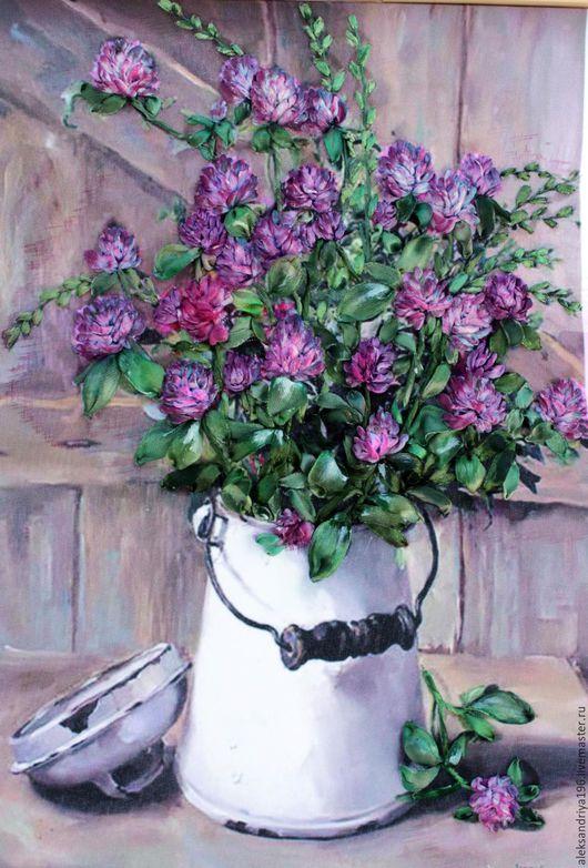 Картины цветов ручной работы. Ярмарка Мастеров - ручная работа. Купить Клевер. Handmade. Фуксия, клевер, подарок на 8 марта