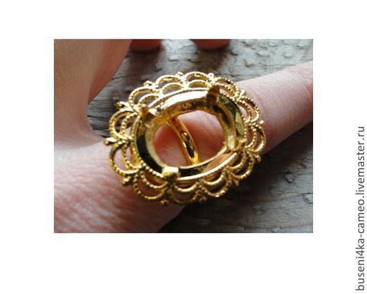 Для украшений ручной работы. Ярмарка Мастеров - ручная работа. Купить Основа для кольца Кружево 13х18мм, под золото (1шт). Handmade.