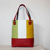 "Сумки и аксессуары handmade. Livemaster - original item Leather colourful tote  bag ""Red green and yellow squares"". Handmade."