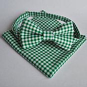 Аксессуары handmade. Livemaster - original item Green tie plaid Nuance green pocket square Pasha. Handmade.