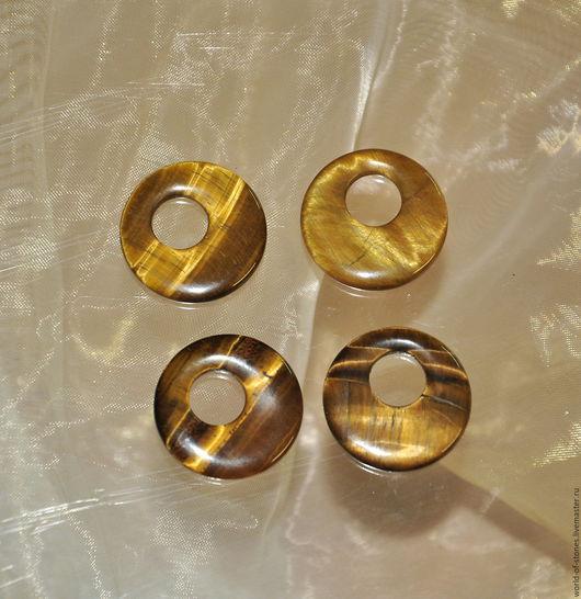 Для украшений ручной работы. Ярмарка Мастеров - ручная работа. Купить Тигровый глаз диск, круг. Handmade. Комбинированный