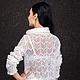 Ажурный свитер женский. Авторская модель, коллекция 2014 года.Lorraine Woolheart.  Состав: пряжа Prestigio, кид - мохер 80%, нейлон 20%. Италия. Цвет: белый  Артикул: LW-SWW14-W100