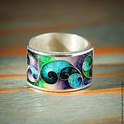 """Кольца ручной работы. Ярмарка Мастеров - ручная работа Кольцо """"Весна"""" из серебра с эмалью. Минанкари. Handmade."""