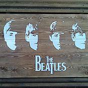 """Картины и панно ручной работы. Ярмарка Мастеров - ручная работа деревянное панно """"The Beatles"""". Handmade."""