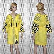 Одежда ручной работы. Ярмарка Мастеров - ручная работа Размер M Льняное мини платье. Handmade.