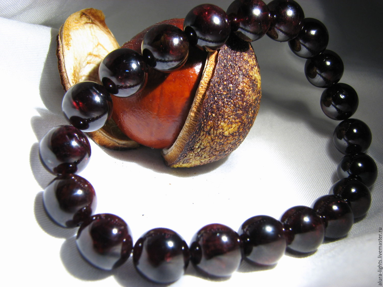 Bracelet with garnet `Only for you`