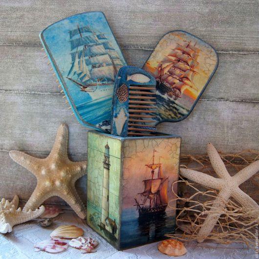 Гребни, расчески ручной работы. Ярмарка Мастеров - ручная работа. Купить Набор морской для  Марины. Handmade. Дерево, рисовая бумага