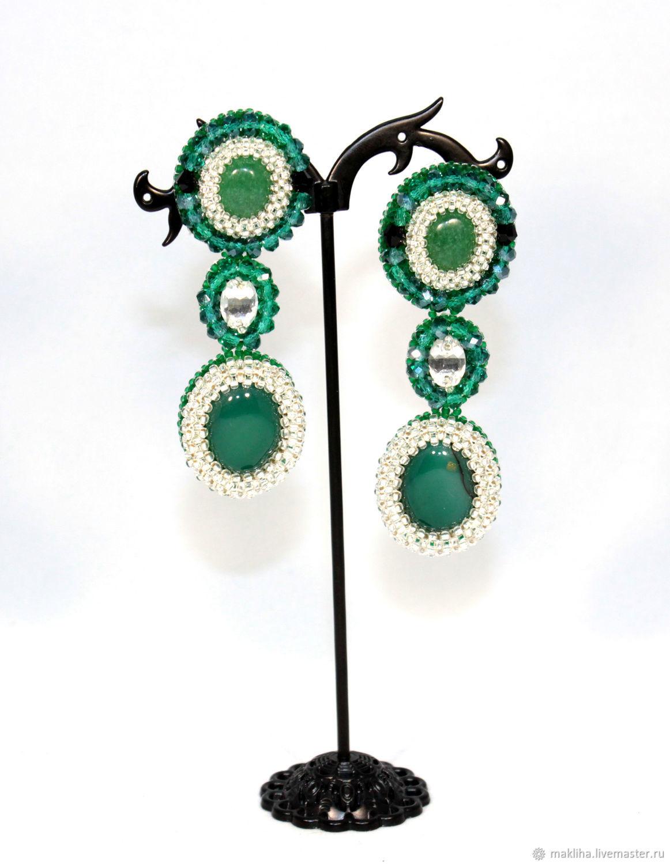 Emerald long earrings with stones, Earrings, Moscow,  Фото №1