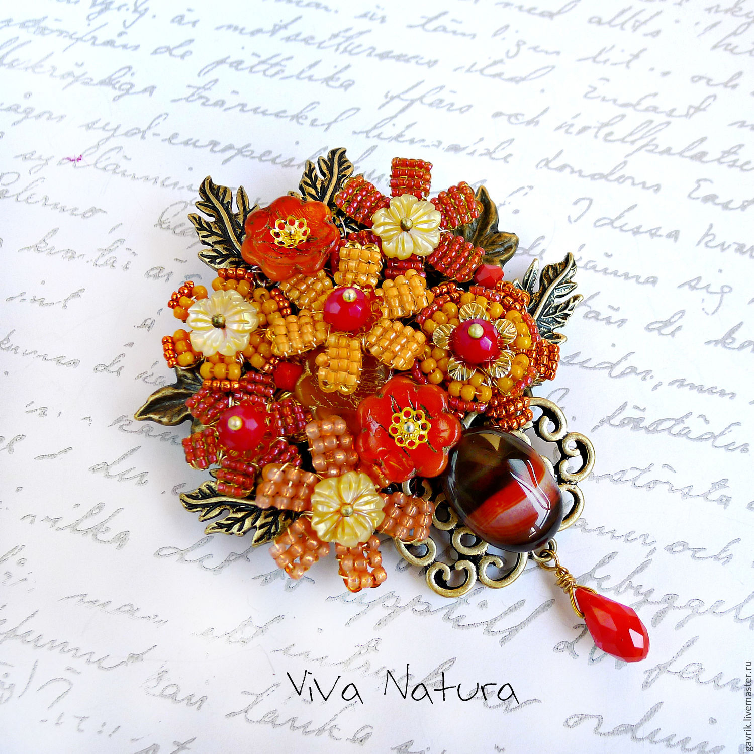 Brooch - bunch of flowers. Handmade brooch, handmade jewelry. Vintage style. Brooch for dress, brooch for costume, brooch for scarf.