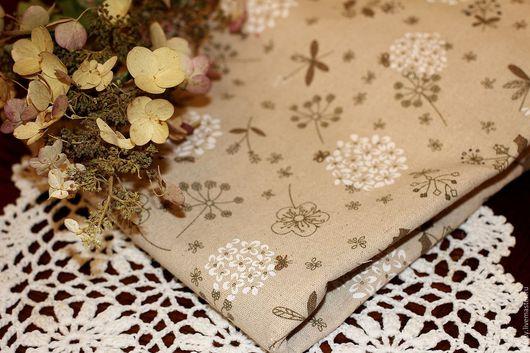 Шитье ручной работы. Ярмарка Мастеров - ручная работа. Купить Ткань лен хлопок Цветы со стрекозами ( прованс, кантри). Handmade.