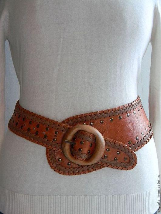 """Пояса, ремни ручной работы. Ярмарка Мастеров - ручная работа. Купить Пояс кожаный женский """"Светлана"""". Handmade. Рыжий"""