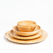 Посуда handmade. Livemaster - original item Set of wooden plates of Siberian Cedar dish for kitchen #TN46. Handmade.