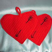 Для дома и интерьера ручной работы. Ярмарка Мастеров - ручная работа прихватка вязанная сердечко. Handmade.
