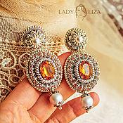 Украшения handmade. Livemaster - original item Wedding earrings Amelia. Embroidered earrings. Earrings embroidered with pearls. Handmade.