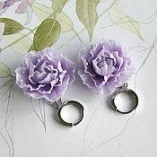 Украшения handmade. Livemaster - original item Earrings with peony, lavender, polymer clay. Handmade.