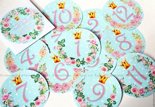 Аксессуары для фотосессий ручной работы. Ярмарка Мастеров - ручная работа. Купить Набор наклеек для фотосессии новорождённой MIMIMI Princess mint. Handmade.