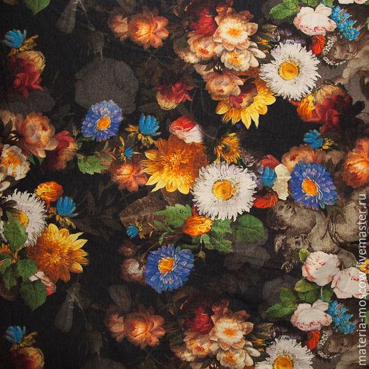 """Шитье ручной работы. Ярмарка Мастеров - ручная работа. Купить Ткань. Джерси трикотаж DG """"Розы,барокко"""". Handmade."""