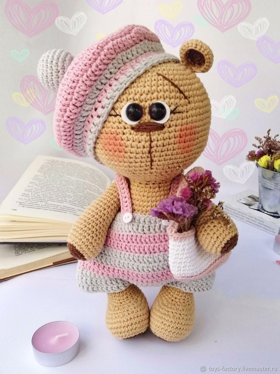 Вязаный мишка, мишка-девочка, игрушка для девочки, Мягкие игрушки, Одесса,  Фото №1