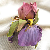 Украшения handmade. Livemaster - original item The colors of the skin.Decoration brooch pin PINK-PURPLE IRIS. Handmade.