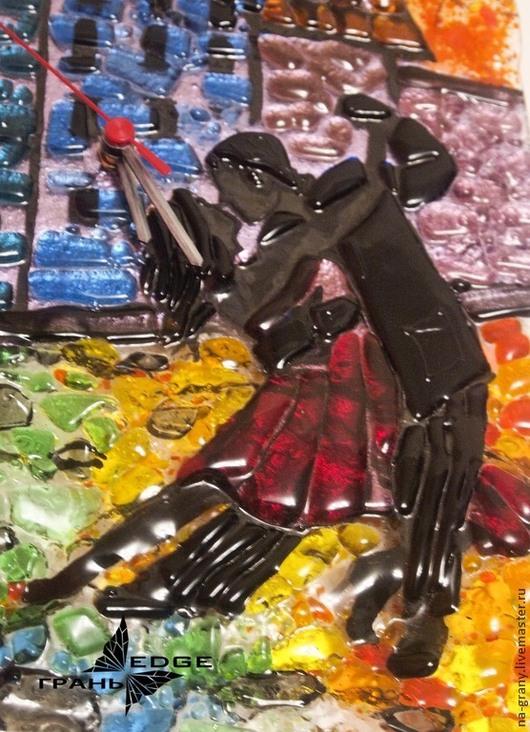 """Часы для дома ручной работы. Ярмарка Мастеров - ручная работа. Купить Часы из стекла """"Танго"""". Handmade. Радуга, часы настенные"""