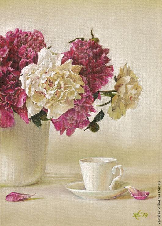 Картины цветов ручной работы. Ярмарка Мастеров - ручная работа. Купить Нежность. Handmade. Пастель, чашка с блюдцем, пионы