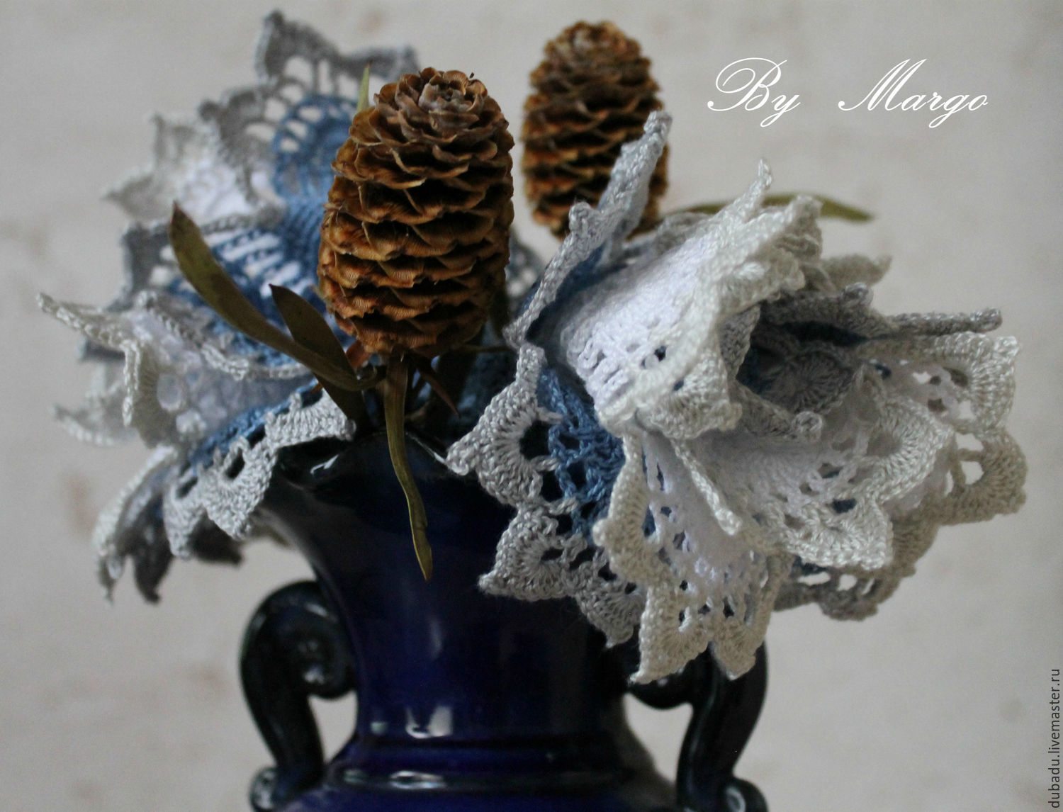 cuffs with lace. ' Prussian blue' Boho, Mitts, Moscow,  Фото №1