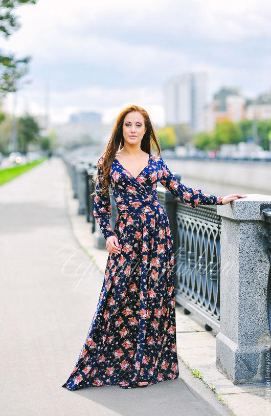 """Платья ручной работы. Ярмарка Мастеров - ручная работа. Купить Платье в пол """"Барбара"""". Handmade. Тёмно-синий, вечернее платье"""